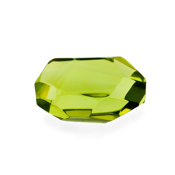 Bernstein (natur), grün, Nugget, facettiert, Briolett, fancy, irregulär, 25x18 mm