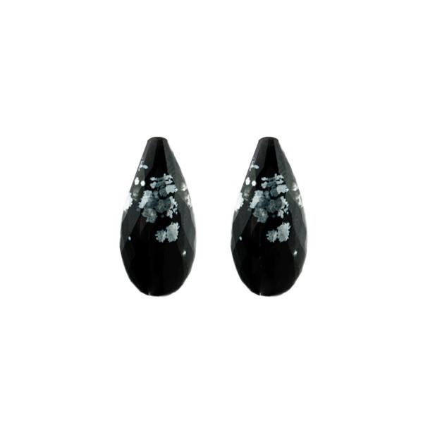 Schneeflockenobsidian, schwarz-weiß gesprenkelt, Pampel, facettiert, 18x10 mm