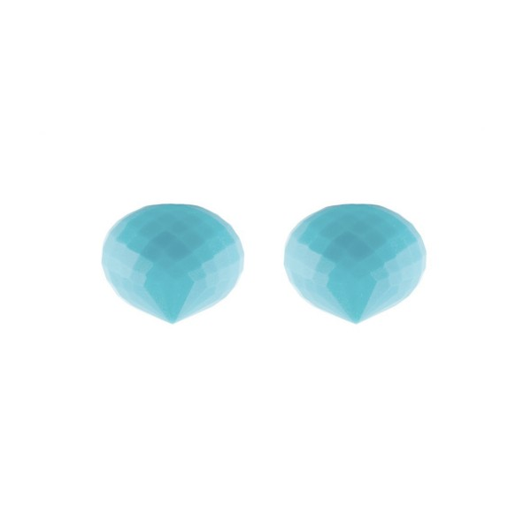 Turquoise (reconstructed), turquoise, teardrop, faceted, onion shape, 13 x 11 mm