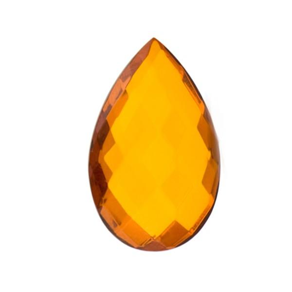 Bernstein (natur), cognacfarben, Briolett, facettiert, Birnenform, 16 x 12mm