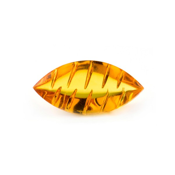 Bernstein (natur), goldfarben, Navette, Buff Top, fancy, gerieft, oval, 30x12 mm