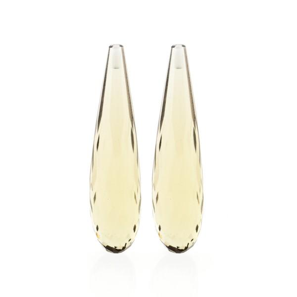 Champagne quartz, champagne, teardrop, faceted, 35 x 8 mm