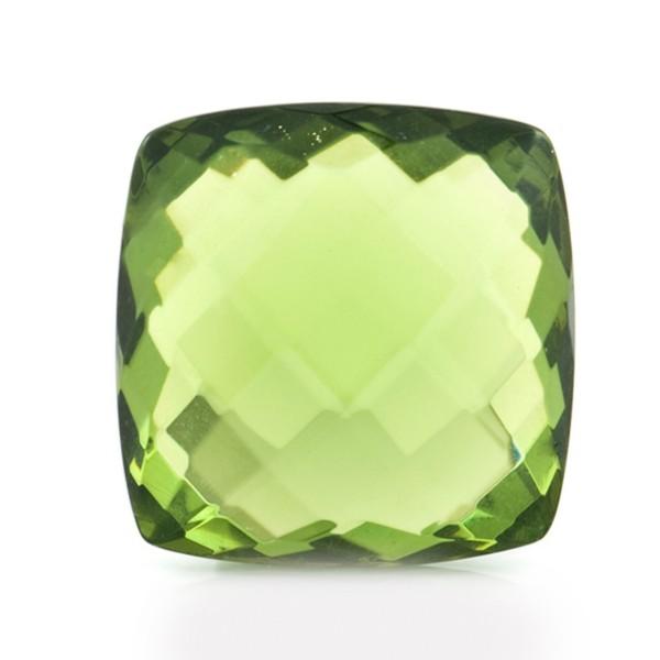 Bernstein (natur), grün, Briolett, facettiert, spitzantik, 18x18mm