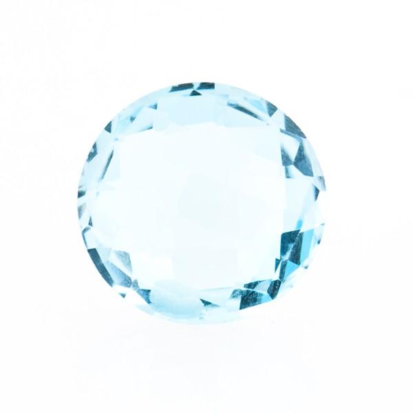 Blautopas, Sky Blue, himmelblau, Briolett, facettiert, rund, 14mm