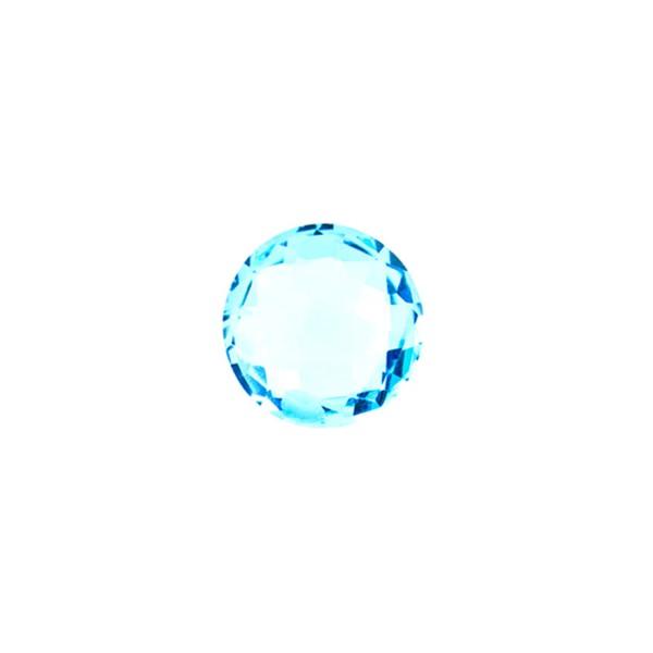 Blautopas, Swiss Blue, intensiv, Briolett, facettiert, rund, 8 mm