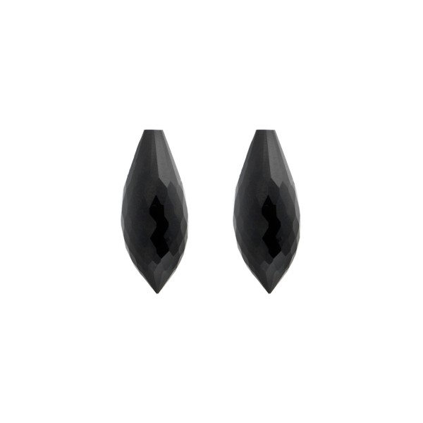 Onyx, schwarz, Spitzpampel, facettiert, 20 x 8 mm