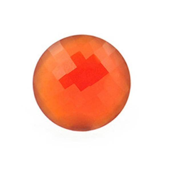 Achat, gefärbt, rot, Briolett, facettiert, rund, 14mm