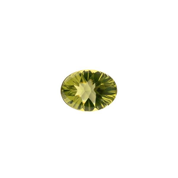Bernstein (natur), grün, Buff Top, concave, oval, 8x6 mm