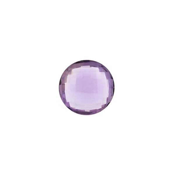 Amethyst aus Brasilien, dunkelviolett, Briolett, facettiert, rund, 8 mm