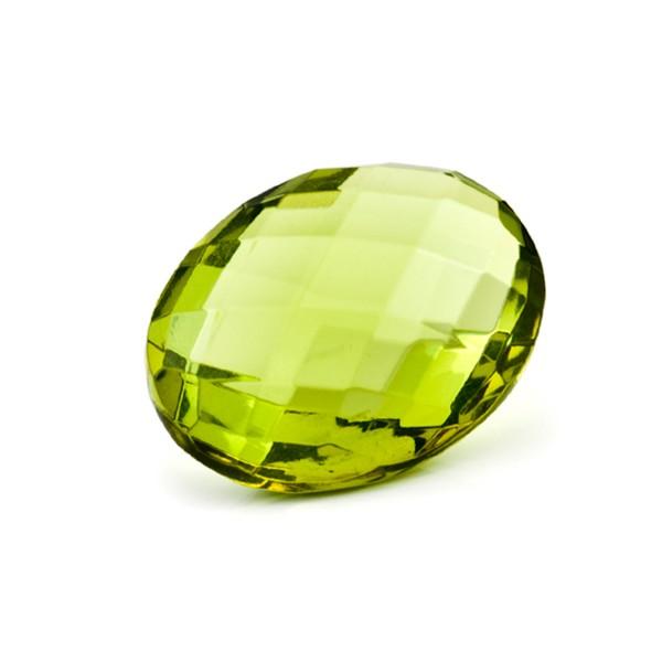 Bernstein (natur), grün, Briolett, facettiert, oval, 16x12mm