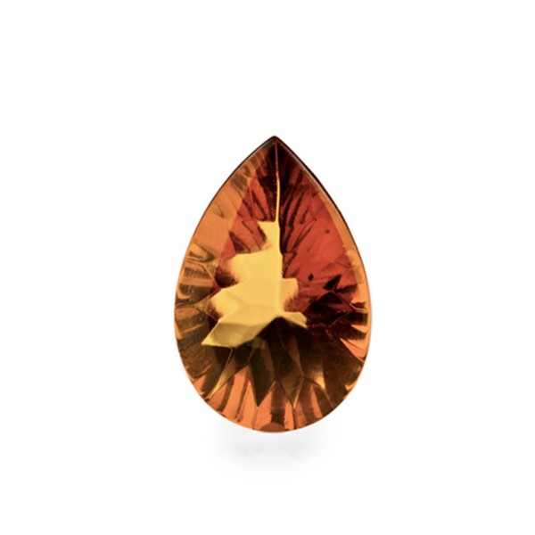 Natural amber, cognac-colored, buff top, concave, pear shape, 14 x 10 mm