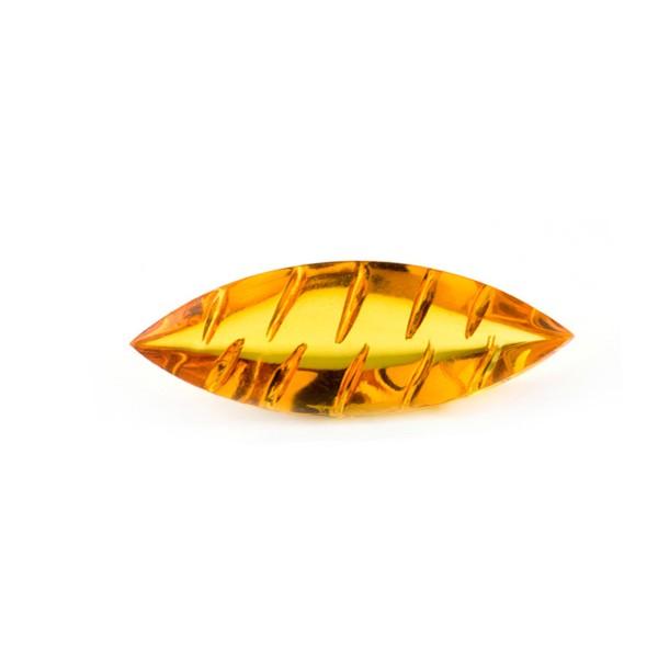 Bernstein (natur), goldfarben, Navette, Buff Top, fancy, gerieft, oval, 20x10 mm