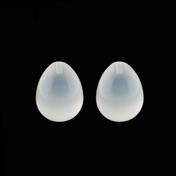 Milchquarz, weiß, Pampel, glatt, 17x13 mm